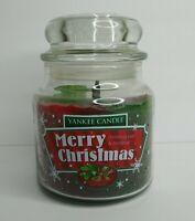 "Yankee Candle ""Merry Christmas"" Swirl Christmas Eve & Mistletoe 12oz Rare NEW"