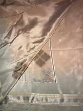 Elegant Beige Gray Sari Indian Saree Bollywood Fabric Panel Drape