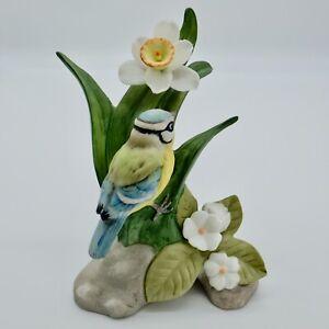 Royal Osborne Blue Tit and Flower Porcelain Ornament Hand painted.