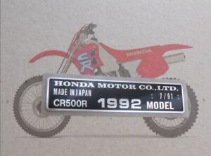 HONDA CR500R 1992 MODEL date 7/91 TAG FRAME VIN ALU PLATE Registration Parts