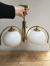 BRASS AND WHITE GLASS TRIPLE CEILING LIGHT