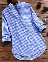 Women Vintage Check Plaid Long Sleeve Shirt Button Down Casual Blouse Tunic Top