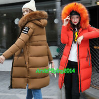 Winter Women Thick Long Coat Big Fur Hooded Coat Down Jacket Cotton Padded Parka