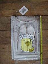 Rustic White Washed LEMONADE Metal Roofing Tin Sign Distressed Retro Vintage