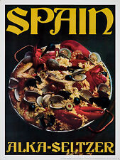 Original Vintage Poster Alka Seltzer Spain Spanish Food Paella 1960s Clams Rice