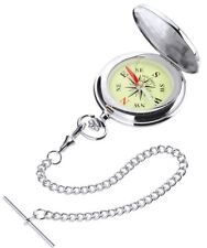 Pocket Compass Military Style Watch with Albert Chain Leather Case-Gift Box