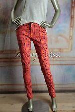 New MINK PINK Hot Pink Orange Black Yellow Art Print Skinny Low Rise Jeans Small