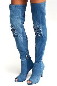 Sergio Todzi Ladies UK 5 Light Blue Denim High Heel Thigh High Over Knee Boots