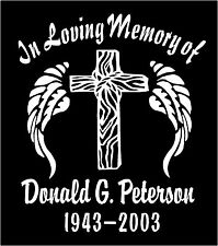 Angel Wings Cross Decal In Loving Memory Of Decals Personalized Stickers x Two