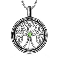 MENDINO Men's Stainless Steel Pendant Necklace Tree of Life Celtic Triquetra