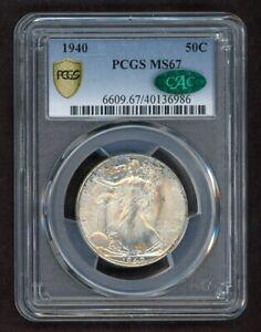 1940 Walking Liberty Half Dollar Silver 50C PCGS MS67 w/ CAC Hologram