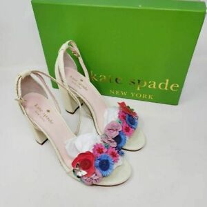 Kate Spade Womens Obelie Block Heel Sandals White Leather Embellished 6 M New