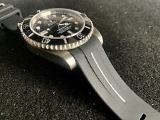 20mm BLACK Rubber Strap With WHITE stripe For 40mm Rolex Explorer II Watches
