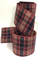 """Plaid Brushed Linen Wired Edge Ribbon~Red, Black, Multi~4"""" W x 9 yd"""