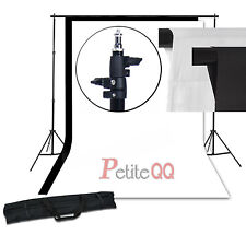 Cotton Muslin White Black Background Kit Backdrop Support Stand Frame UK Local