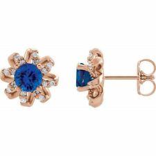 Zafiro Azul & 1/6 Ctw Diamante Halo-Style Pendientes En 14K Oro Rosa
