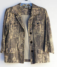 CHICOS Jacket Blazer Size 1 Animal Print