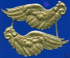 Pair huge gold Dresden Angel wings - heavily embossed - made in Germany - 1970's