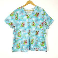 Disney Muppets Womens Scrup Top 3X Kermit Christmas Short Sleeve Pockets Plus