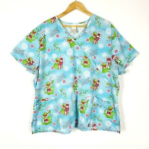 Disney Muppets Scrup Top Kermit Christmas Short Sleeve Pockets Womens Plus 3X