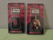 Set Of 2 Star Wars Episode 1 Collectible Metal Pins Darth Maul & Qui-Gon-Jinn