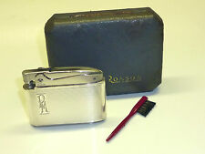 """RONSON """"ADONIS"""" LIGHTER W. 935 SILVER CASE - PAT. 621570 - OVP - 1950 - ENGLAND"""
