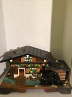 Vintage Japan Wood House / Water Wheel Music Jewelry Box