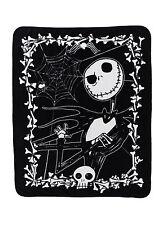 Disney The Nightmare Before Christmas THROW Blanket JACK Skull Bones Arm Crossed