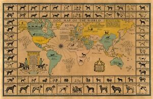 1933 Pictorial Dog Map of the World American Kennel Club Poster Print Wall 10x16