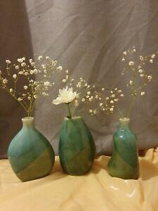 Set Of 3 Green Asymmetrical Small Flower Vases