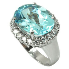 De Buman Brand New 13.15ctw Genuine Blue Topaz Solid 925 Silver Ring, Size 7.25