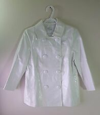 VINCE. White Patent Leather Jacket A-Line Mod Swing Coat 3/4 Sleeve Size 4
