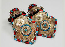 antique muchley silver earring Katawaz Afghanistan Pakistan antik Ohrringe No-2