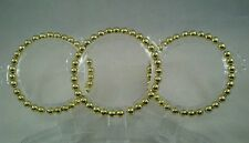 Gold Acrylic Bracelet Stretch Set of 3 New 4mm Beads Affordable Fashion Jewelry