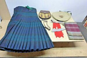Scottish Mens Quality Wool Kilt (3+ lbs) and Bonnet,Sporran etc