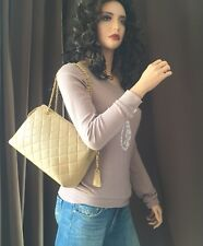 Authentic Chanel Beige Lambskin Leather Gold Chain Shoulder Bag