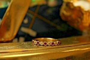 9ct Yellow Gold Diamond and Ruby Rub-Over Half Eternity Ring 1.5g (0.08ct Dia)
