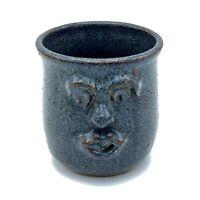 Studio Art Pottery Figural Face Mug Blue Gray Stoneware Signed Evans Hand Made