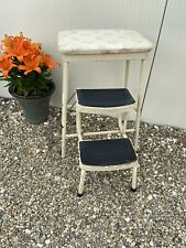 Vintage Retro Folding Steps Stool Tubular  Metal Framed Padded Floral Seat