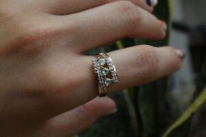 9ct yellow gold three stone trillion cut aquamarine with white sapphire ring