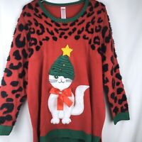 Ugly Christmas Sweater Cat Green Hat Red Bow Women's Size 2X (20W-22W)