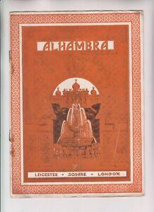 VINTAGE ORIGINAL THEATRE PROGRAMME - Alhambra Leicester Square London, Sep 1926