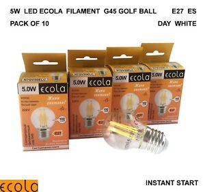 10 X 5W LED ECOLA Filament G45 GOLF BALL Light Bulb Clear E27  ES DAY WHITE