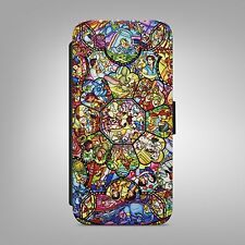 DISNEY STAINED GLASS LEATHER FLIP WALLET PHONE CASE COVER FOR IPHONE & SAMSUNG