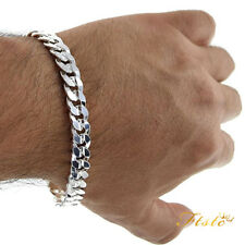 NICE GIFT MEN 6-12MM SOLID 925STERLING SILVER JEWELRY CHAIN BRACELET BANGLE UK