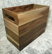 Acacia Wood Growler Crate Box 'Fill Drink Repeat' New Storage Shelves Decor