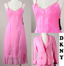 NWT DKNY NEW YORK $550 SLIP DRESS & BUTTON CROP JACKET SET RAMIE LINEN PINK SZ 6
