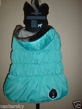 New Cynthia Rowley Hooded Faux Fur Trim Quilted Dog Parka Jacket Aqua L 18-20""
