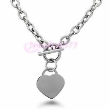 """Womens Silver Oval Chain Cute Heart Pendant Stainless Steel Toggle Necklace 20"""""""