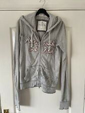 ABERCROMBIE & FITCH Women's Grey Zip Hoodie - Size Medium